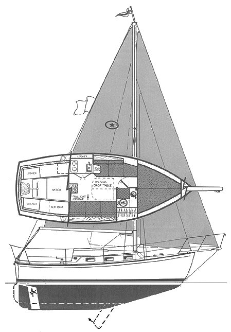 Island Packet 26 MkII drawing on sailboatdata.com