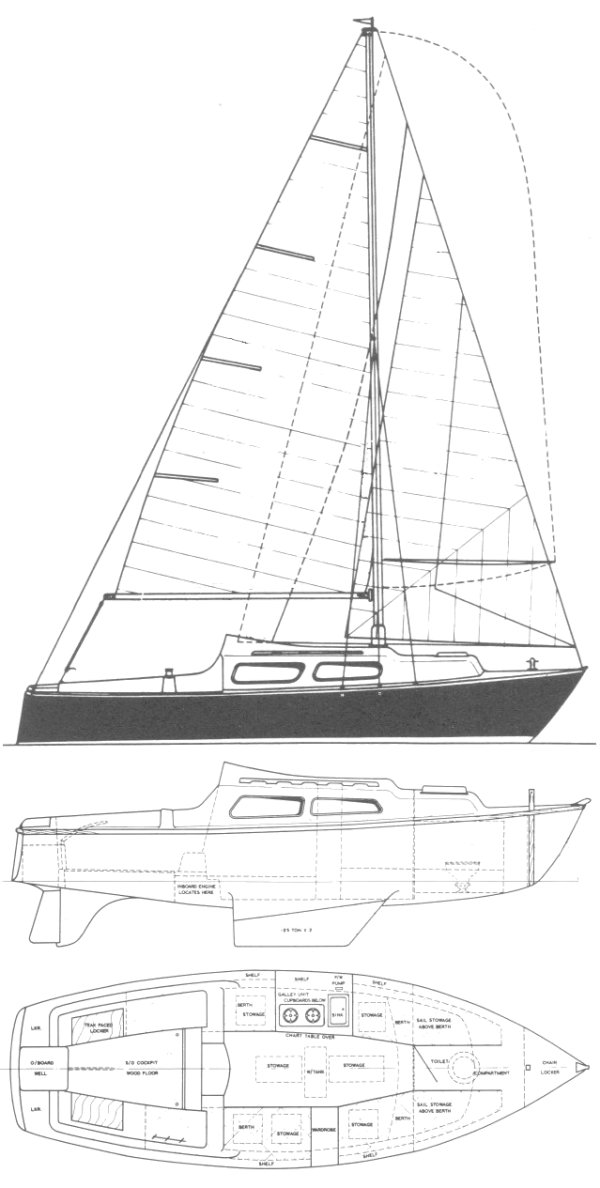 Islander 23 (Wakefield) drawing on sailboatdata.com