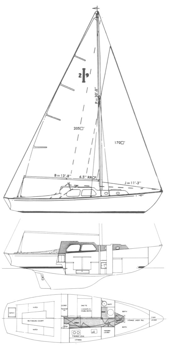 Islander 29 drawing on sailboatdata.com