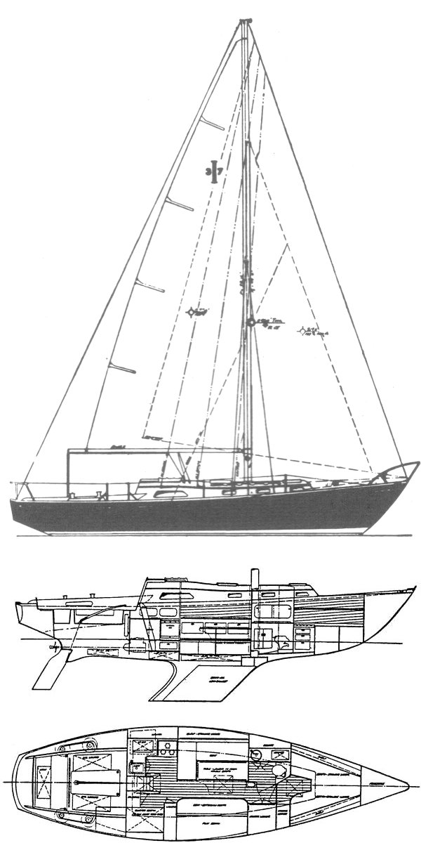 Islander 37 drawing on sailboatdata.com