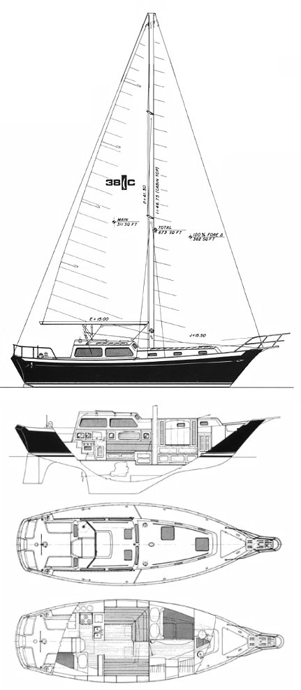 Islander 38C drawing on sailboatdata.com