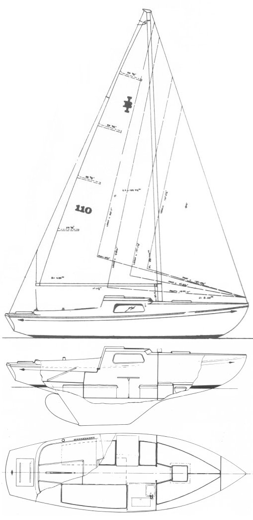 Islander Bahama 24 drawing on sailboatdata.com