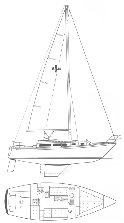 Islander Bahama 30 drawing on sailboatdata.com