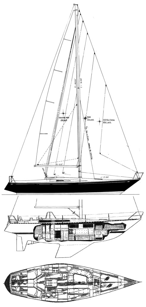 IW-40 drawing on sailboatdata.com