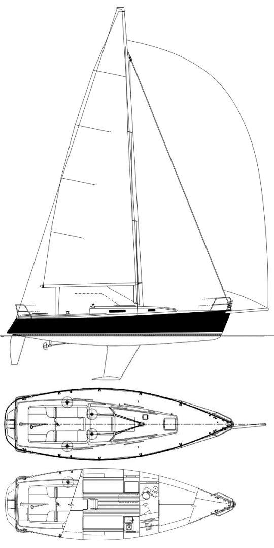 J/105 drawing on sailboatdata.com
