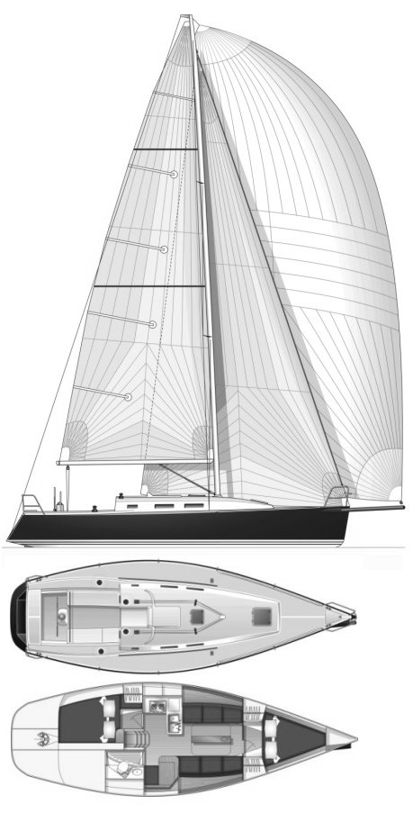 J-109 drawing on sailboatdata.com