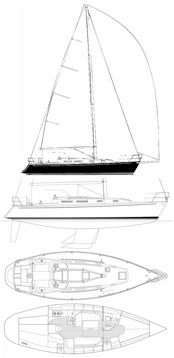 J/110 drawing on sailboatdata.com
