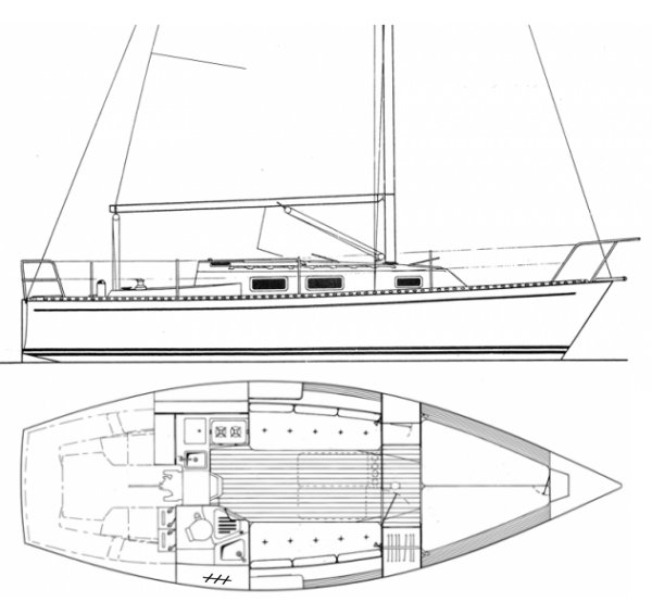J/28 drawing on sailboatdata.com