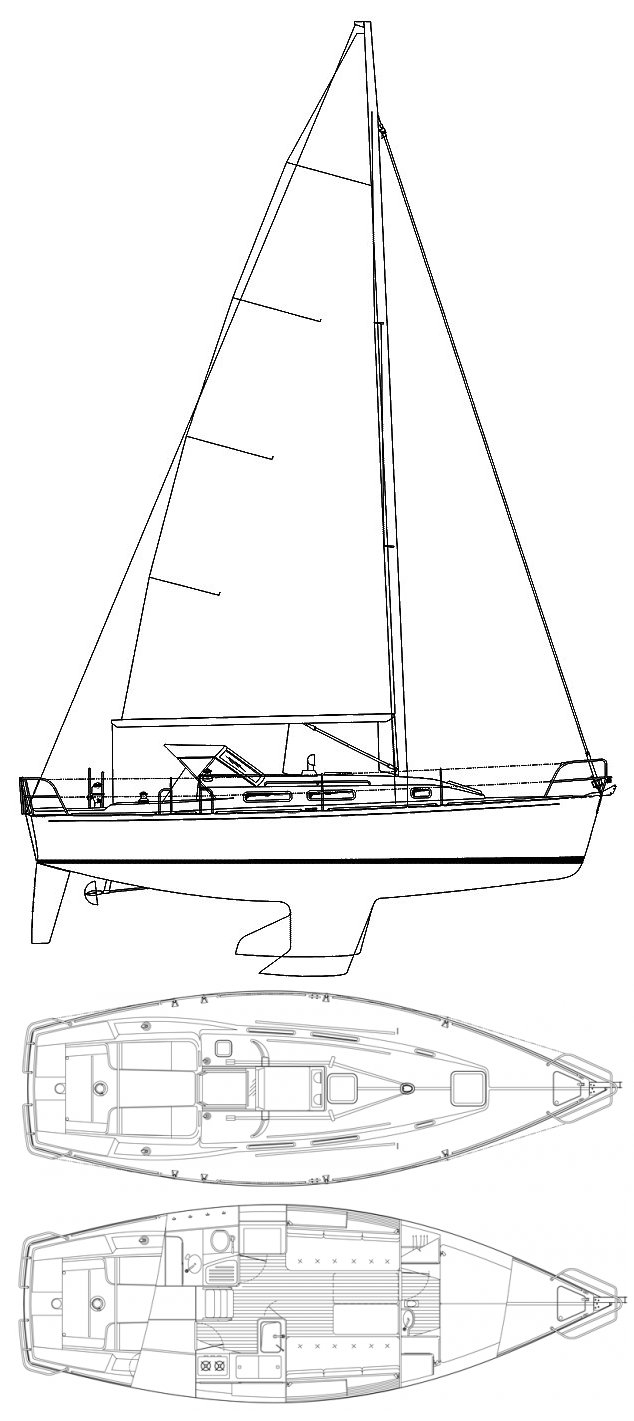 J/32 drawing on sailboatdata.com