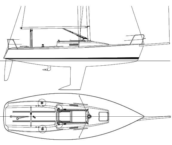 J/92S drawing on sailboatdata.com