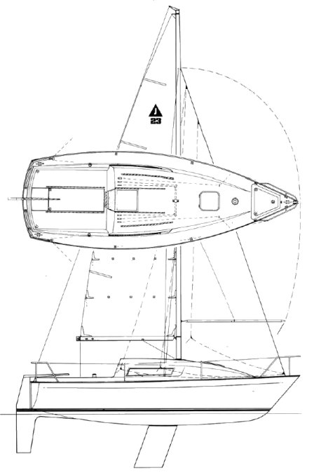jaguar 23 drawing on sailboatdata.com