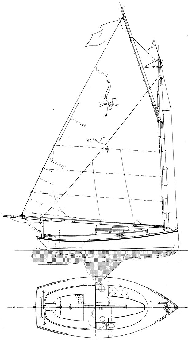 Family Cat 23 drawing on sailboatdata.com