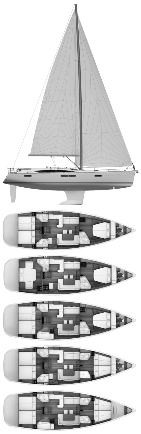 Jeanneau 53 drawing on sailboatdata.com