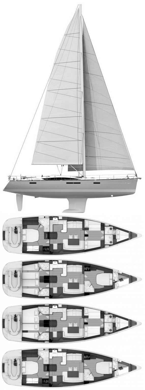 Jeanneau 57 drawing on sailboatdata.com