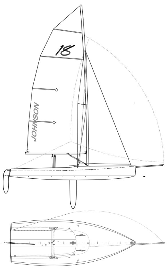 Johnson 18 drawing on sailboatdata.com