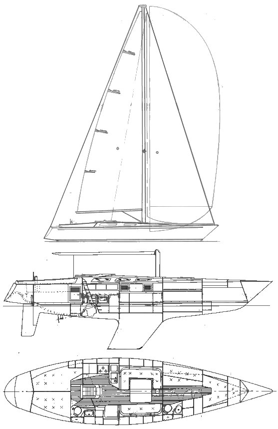Joule 44 drawing on sailboatdata.com