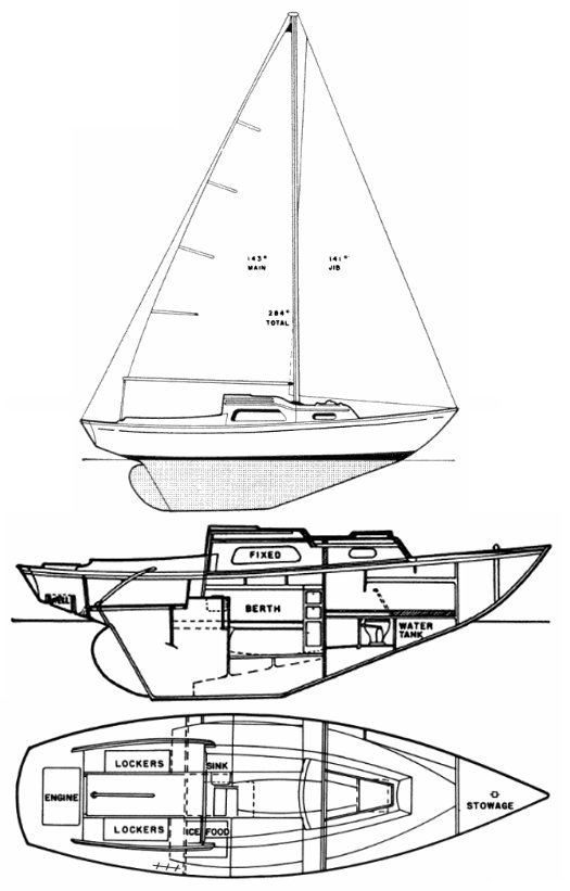 Kaiser 25 drawing on sailboatdata.com