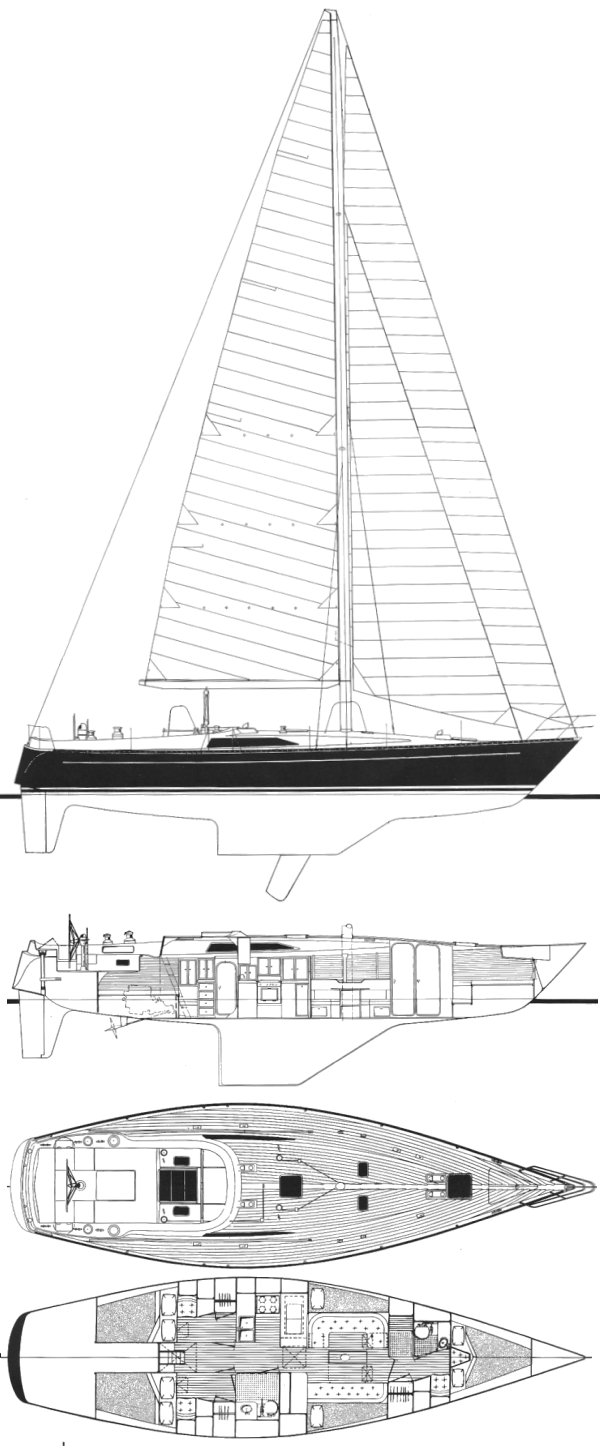 Kaufman 47 drawing on sailboatdata.com
