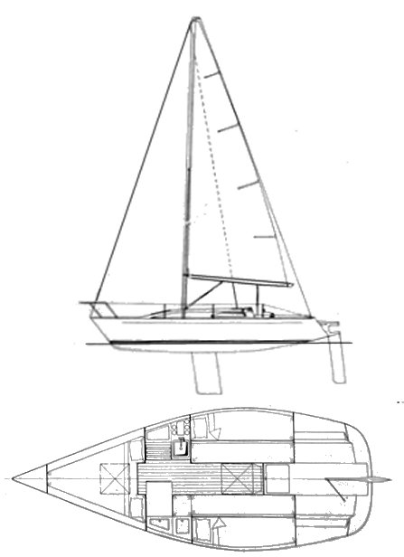 Kelley 24 drawing on sailboatdata.com