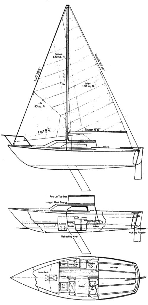 Kells 23 drawing on sailboatdata.com