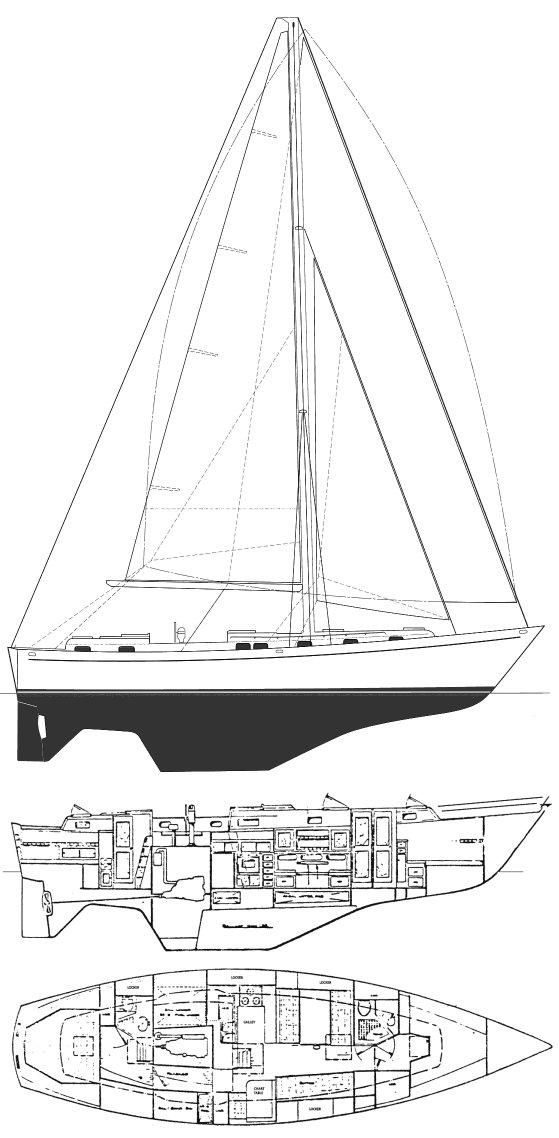 Kelly-Peterson 44 drawing on sailboatdata.com