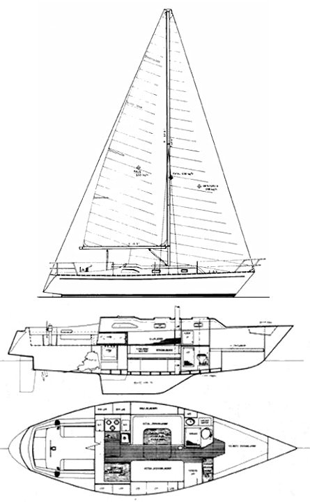 Kelly 34 drawing on sailboatdata.com