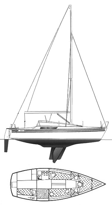 Kelt 707 drawing on sailboatdata.com