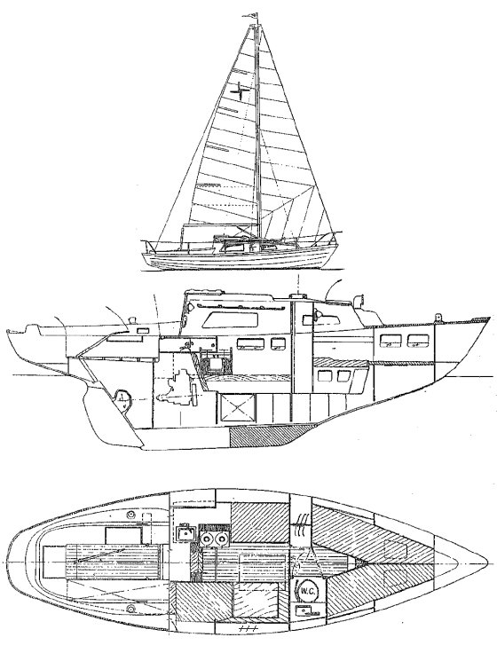 Kerry 27 drawing on sailboatdata.com