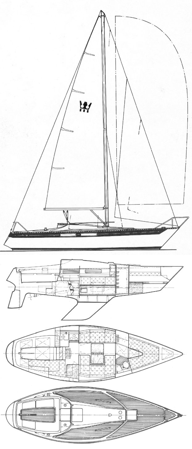 King's Cruiser 33 drawing on sailboatdata.com