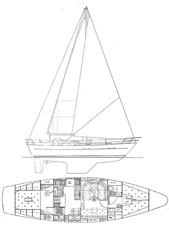 Kings Legend 41 drawing on sailboatdata.com