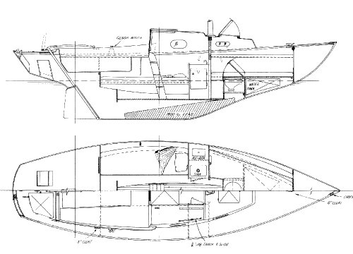 Kittiwake 23 drawing on sailboatdata.com