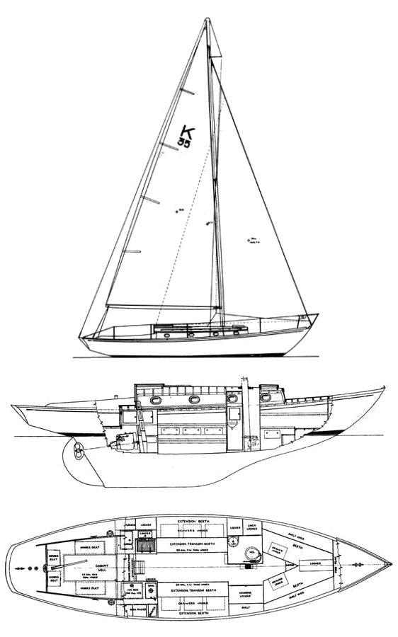 Knutson 35 drawing on sailboatdata.com