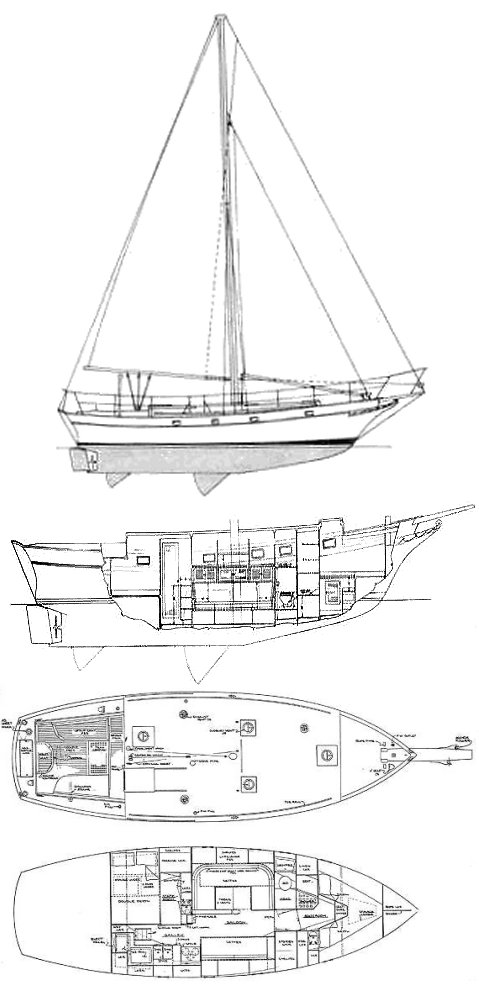 Krogen 38 Cutter drawing on sailboatdata.com