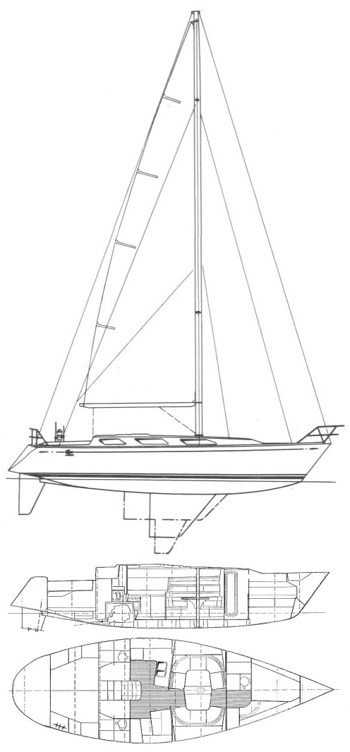Lacoste 42 drawing on sailboatdata.com