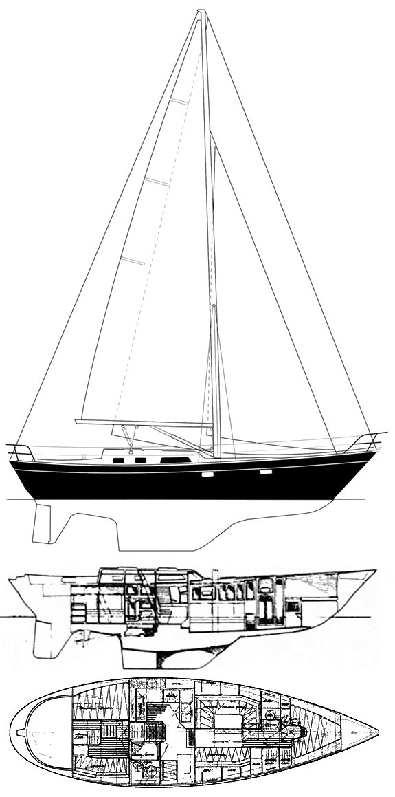 Lafitte 44 drawing on sailboatdata.com