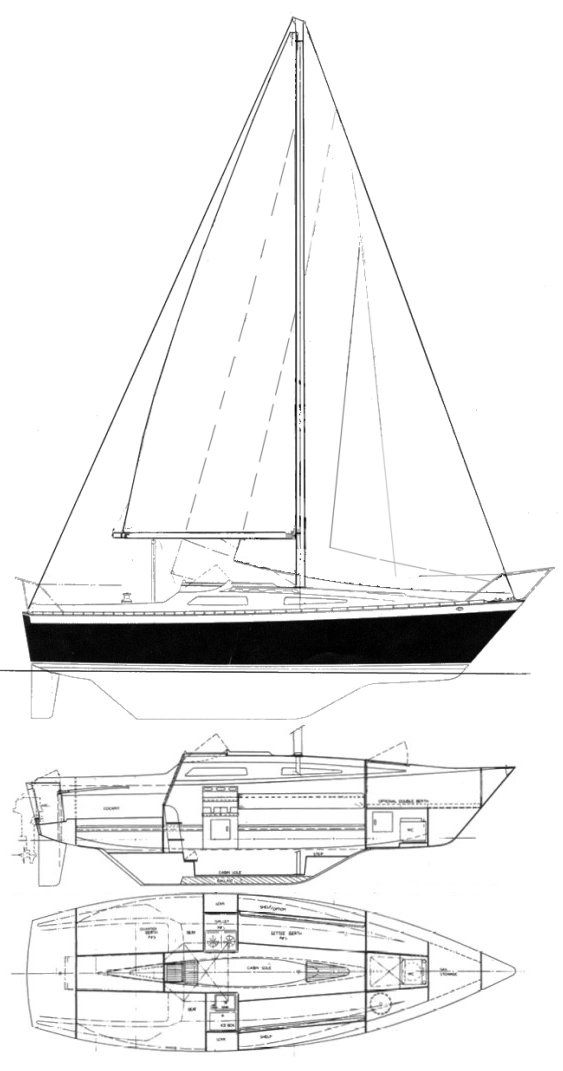 Lancer 25 drawing on sailboatdata.com