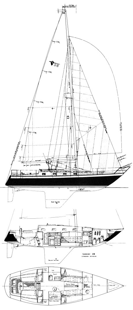 Lancer 36 (fractional) drawing on sailboatdata.com