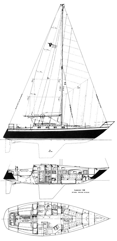 Lancer 36 (MR) drawing on sailboatdata.com