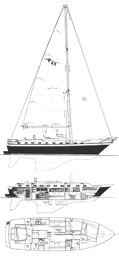 Lancer 45 drawing on sailboatdata.com