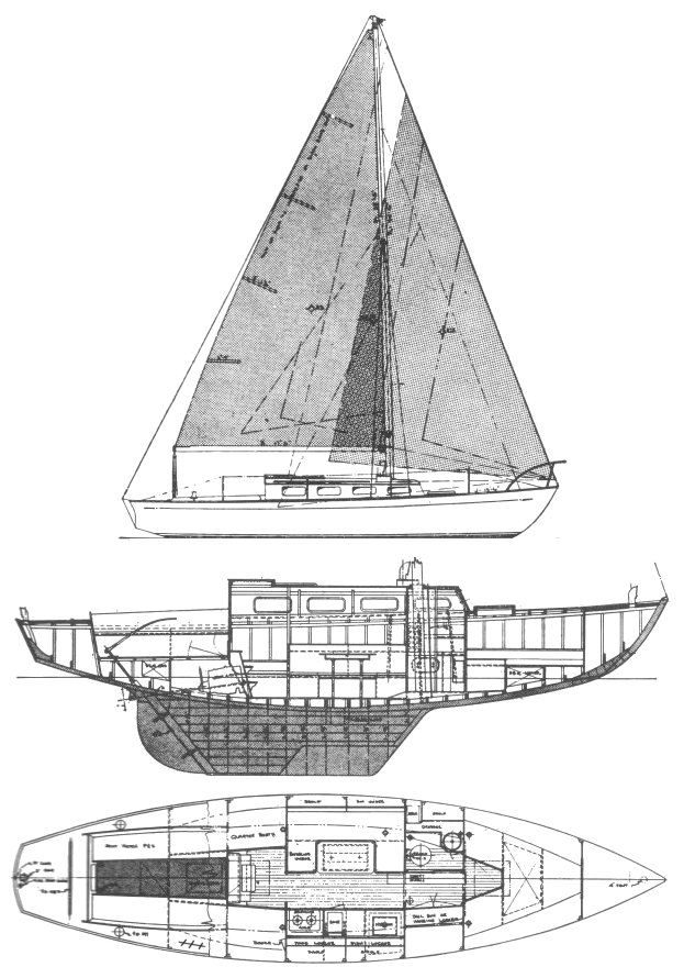 Lapworth 36 drawing on sailboatdata.com