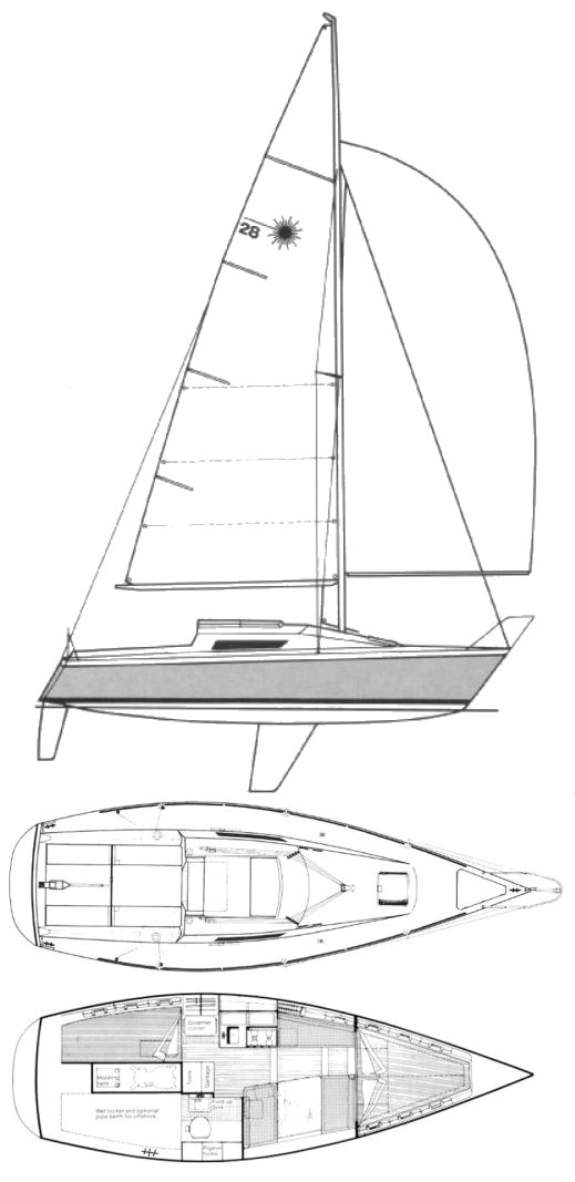 Laser 28 drawing on sailboatdata.com