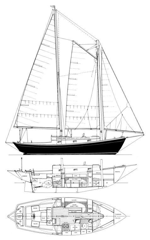 LAZY JACK SCHOONER drawing