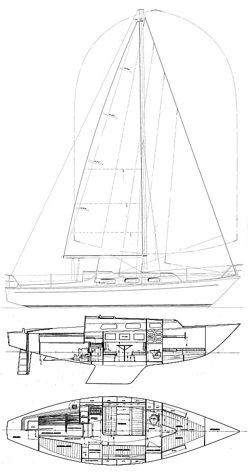 Legend 34 drawing on sailboatdata.com