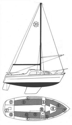 Leisure 20 drawing on sailboatdata.com