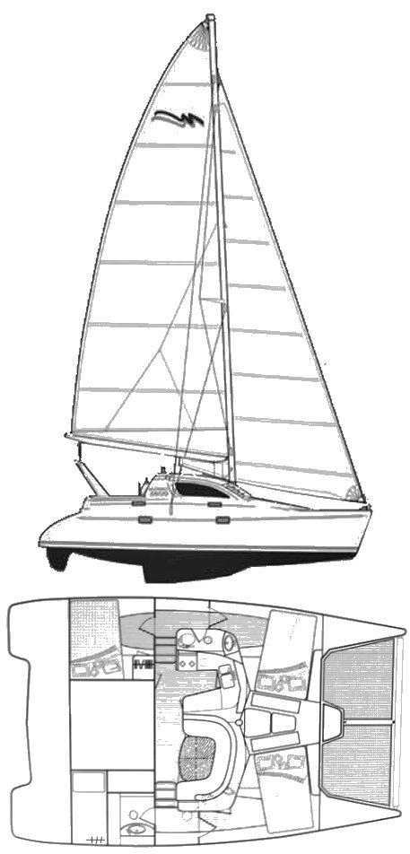 Leopard 38 drawing on sailboatdata.com