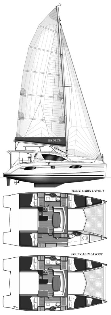 Leopard 39 drawing on sailboatdata.com