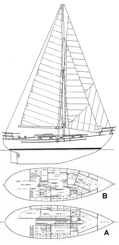 Liberty 38 drawing on sailboatdata.com