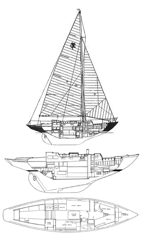 Lion 36 (Robb) drawing on sailboatdata.com