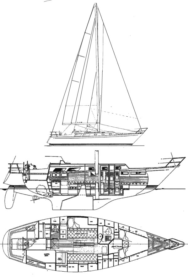 Little Harbor 38 drawing on sailboatdata.com