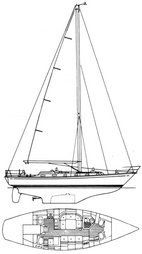 Little Harbor 42 drawing on sailboatdata.com